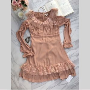 For Love and Lemons Mini Dress in Blush/Nude